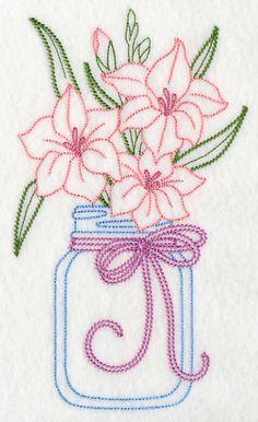 Blooming Gladiolus in Mason Jar (Vintage)