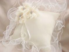 Ring Bearer Pillow Wedding Ring Pillow Ivory by nanarosedesigns, $29.00