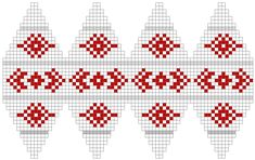 FREE Beaded Bead Pattern ___ Color chart for knit Christmas ball Knitted Christmas Decorations, Knit Christmas Ornaments, Christmas Tree Pattern, Christmas Knitting Patterns, Christmas Bells, Christmas Crafts, Plastic Canvas Ornaments, Plastic Canvas Christmas, Plastic Canvas Patterns