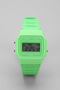 Classic Neon Core Digital Watch by Casio: Made of plastic and stainless steel. Available also in retro yellow (think harvest gold) and orange. $29 #Casio #Watch #Digital_Watch