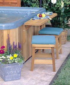 hot tub with stools . could use red icecream chairs for an idea like this . hot tub with stools . could use red icecream chairs for an idea like this . Diy Outdoor Bar, Outdoor Bar Stools, Jacuzzi Outdoor, Hot Tub Backyard, Hot Tub Garden, Spa Design, Hot Tub Bar, Hot Tubs, Inflatable Hot Tub Reviews