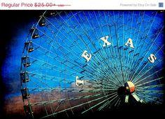 Fourth of July SALE - Texas - Texan Photography - Dallas Photos - Fair Park - Travel - Ferris Wheel - Blue - Dramatic