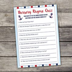 Nautical Boy Baby Shower Nursery Rhyme Quiz Game - Baby Shower Games - Activities - Anchors 217