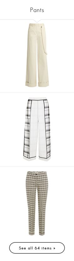 """Pants"" by sandrastories ❤ liked on Polyvore featuring pants, rosie assoulin, suits, trousers, light beige, wide-leg pants, white pants, white flare pants, cuffed pants and strappy pants"