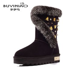(69.48$)  Buy here - http://aif9f.worlditems.win/all/product.php?id=32742940086 - 2016 New Luxury Designer Snow Boots for Women Rhinestone Winter Boots Rabbit Bunny Fur Botas Mujer Top Quality Mid-calf Boots