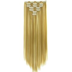 Soowee 7pcs/set Long Straight Black Blonde Hair Synthetic High Temperature Fiber Hair Pad Clip In Hair Extensions Full Head