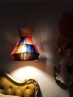Yarn and Wire Lamp Pendant From a Tomato Cage
