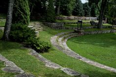 the garden amphitheater behind Camden Library, overlooking the harbor in Camden, Maine.  Designed by Fletcher Steele in 1931.
