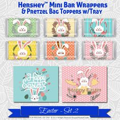 Easter Hershey Mini's Candy Bar Wrapper,Printable favor Bag Tag, Happy Easter set2, Rabbit bunny heads, for Mini bars not Nuggets by EmptyNesterCrafts on Etsy