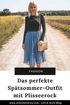 Spätsommer-Outfit mit Plisseerock Basic Fashion, German Fashion, Fashion Weeks, Tie Dye Skirt, Midi Skirt, Tulle, Lifestyle, Skirts, Beauty