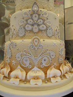 Gorgeous Detailed Wedding Cake By Emma Jayne Cake Design--Aberdare, Wales - http://emmajaynecakedesign.co.uk/#/home/4551131184 - (facebook)