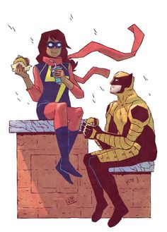 Ms. Marvel - Kamala Khan and Wolverine by Jake Wyatt, colours by Ron Chan *