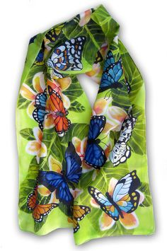 Flowers and Butterflies Hand Painted Silk Scarf. by SilkPaintingAu