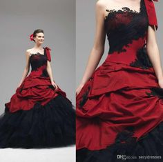Wholesale Gothic Wedding Dresses - Buy 2015 Ball Gown Lace Appliques Gothic Wedding Dresses One-Shoulder Neckline Sleeveless Backless Red And Black Beach 2014 Bridal Gowns, $149.2   DHgate