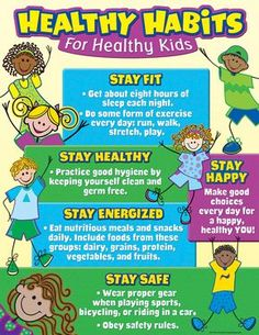 Healthy Habits for Healthy Kids Chart In this poster we can understand all essential and important health and nutrition for early childhood education. it is an easy to tool to teach the healthy habits to the children. i selected this poster because its very clear, understandable and useful for preschool learners.