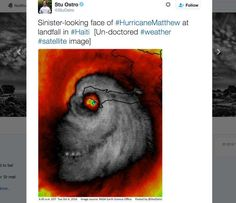 A Weather Channel meteorologist spotted an eerie face in satellite image of Hurricane Mathew on Tuesday. Weather Channel meteorologist Stu Ostro posted the picture on Twitter on Tuesday and said it was 'un-doctored.'