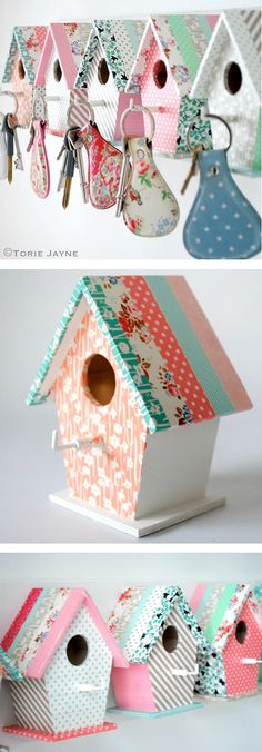 DIY Birdhouse Key Hooks