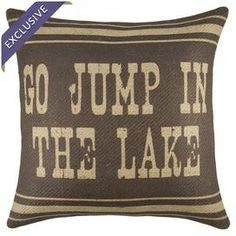 "Bring a pop of rustic style to your sofa or favorite reading nook with this handcrafted burlap pillow, featuring a lake-themed typographic motif. Made in the USA.   Product: PillowConstruction Material: Burlap coverColor: Brown and beigeFeatures: Insert included Handmade by TheWatsonShopZippered enclosureMade in the USA Dimensions: 16"" x 16""Cleaning and Care: Spot clean only"