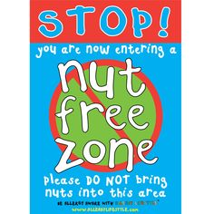 "This allergen poster is bright and noticeable. The message reads ""Nut free zone please do not bring nuts into this area"" It's perfect to have in the home, school, nurseries or childcare. A4 Poster, Posters, Peanut Allergy, Back To School Essentials, Nut Allergies, Behavioral Therapy, Nut Free, Childcare, About Me Blog"