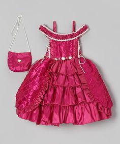 This Fuchsia Tiered Dress & Purse - Toddler & Girls by ClassyKidzShop is perfect! #zulilyfinds