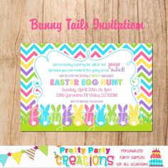 Easter Invitations, Party Invitations, Easter Hunt, Easter Eggs, Bunny Tail, Easter Printables, Egg Hunt, Party Supplies, Clip Art