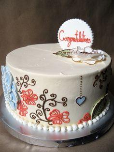 A vintage styled bridal shower cake to match the gorgeous invitations and menus. #vintagebridalshowercake #vintagecake