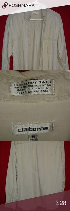 Claiborne Men's Long Sleeve Dress Shirt Tan Traveler's Twill Size 16 sleeve 34-35 Tan color EUC Claiborne Shirts Dress Shirts
