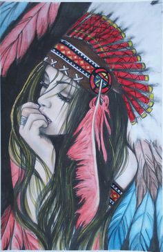 Native American Tattoos, Native Tattoos, Native American Girls, Native American Paintings, American Indian Art, Tattoos 3d, Body Art Tattoos, Pencil Art Drawings, Art Drawings Sketches