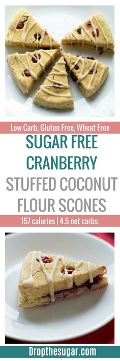 A flavorful sugar free cranberry stuffed coconut flour scone recipe with a lemon glaze. Sugar Free Desserts, Sugar Free Recipes, Low Carb Desserts, Low Carb Recipes, Dessert Recipes, Healthy Recipes, Ketogenic Recipes, Healthy Treats, Healthy Desserts