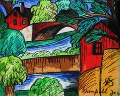 """Oscar Bluemner Title:  Bridge over Canal, Bloomfield NJ   Status:  Sold! Category:  Painting Medium:  Watercolor Signature:  Unsigned Size:  7.25"""" x 9"""" Style:  Other Subject:  Landscape"""
