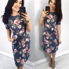 Casual Gray Floral Midi Dress with New ties waists and pockets! From @thedarlingstyle Super pretty. Modest fashionista. Skirt Style. Modest Fashion. Getting Into The Spring Chic Style. Moda Modesta. Perfect for spring, and your closet! ;)