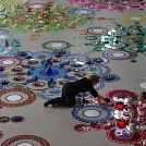 Dutch artist Suzan Drummen floor installation using mirrors and crystals...