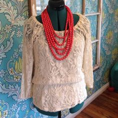 Cream Lace Bohemian Top Cute, lightweight, sheer, lace boho top with built in tank. Necklace not included. Tops Blouses