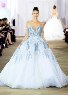See our favorite colored wedding dresses from the best bridal designers—from red wedding dresses to pink wedding dresses to black wedding dresses! Blue Wedding Gowns, Pretty Wedding Dresses, Wedding Dress Trends, Colored Wedding Dresses, Designer Wedding Dresses, Pantone 2015, 2017 Bridal, 2017 Wedding, Tulle Ball Gown