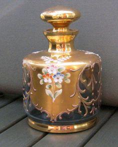 Vintage Bohemian Czech Glass Enamel Gold Perfume Bottle