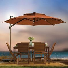 Delightful This Round Solar Cantilever Umbrella Is The Perfect Complement For Patio  Tables During The Day And At Night Thanks To The LED Lights On Each Rib Of  The ...