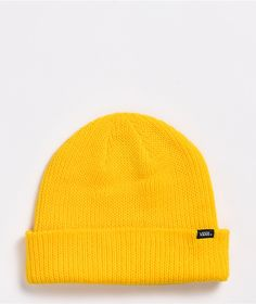 Brighten up your day with the Core Basic lemon chrome beanie from Vans! This simple beanie comes in a sunny yellow colorway, with the Vans logo at the cuff for a tiny yet recognizable touch of branded brilliance to any look. Girls Fashion Clothes, Girl Fashion, Fashion Outfits, Yellow Beanie, Vans Logo, Birthday Wishes, Knitted Hats, Your Style, Core