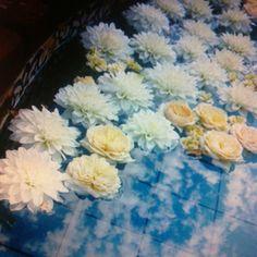 Floating flowers Floating Flowers, Wedding Flowers, Centerpieces, Reception, Wedding Ideas, Painting, Outdoor, Art, Outdoors