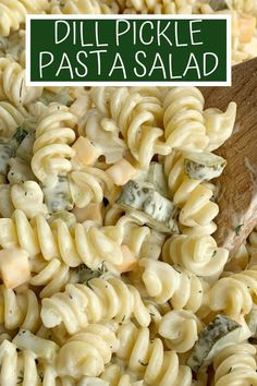 Dill Pickle Pasta Salad will be an instant favorite! Tender spiral pasta, 2 cups of diced pickles, cheese, and onion covered in a ultra creamy homemade dill dressing with pickle juice. Creamy Pasta Salads, Best Pasta Salad, Savory Salads, Pasta Salad Recipes, Spagetti Pasta Salad, Kid Pasta Salad, Cold Pasta Salads, Cold Pasta Recipes, Vegetarian Pasta Salad