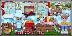 Elite4u Premade Scrapbook Page Layout Backyard BBQ Picnic Summer Paper Piecing