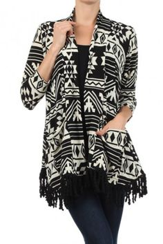 Aztec tribal printed, 3/4ths sleeve open cardigan with lapel detail, pockets and fringed hemline.