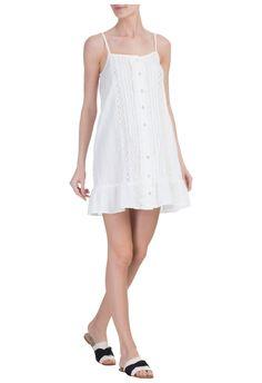 SALINAS - Vestido alcinha renda - branco - OQVestir