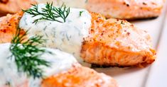 Get Dinner On The Table In No Time With This Baked Salmon Recipe! The Creamy Dill Sauce Is SO GOOD!