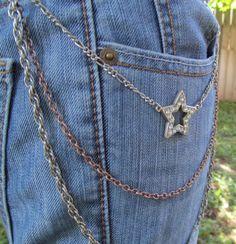 Jean Jewelry Jean Chains Star Charm  J 15 by stevenssteampunk, $35.00