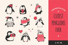 Cute penguin icons, Christmas cards by Marish on @creativemarket