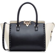 Valentino Rockstud Medium Leather Tote (£1,715) ❤ liked on Polyvore featuring bags, handbags, tote bags, valentino, multicolor, crossbody tote bag, crossbody tote, valentino tote, leather cross body purse and leather tote bags