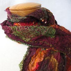 Brown orange and burgundy nuno scarf by BlindSquirrel on Etsy, $75.00