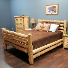 The Cedar Lake Rodeo Log Bed is made from Northern White Cedar. This bed will look beautiful in you home, lodge, log cabin, or country cottage. Visit us online or call for more log furniture. Cedar Furniture, Rustic Log Furniture, Western Furniture, Country Furniture, Pallet Furniture, Furniture Plans, Bedroom Furniture, Home Furniture, Furniture Design