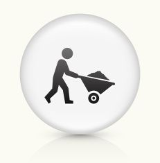 Miner Mining icon on white round vector button vector art illustration