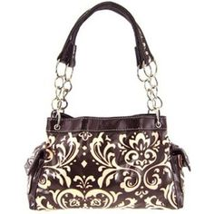 Damask Print Laminated Satchel Purse w/ Chain Handles Black White or Pink Brown
